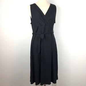 Sleeveless Black Talbots Wrap Belted Stretch Dress